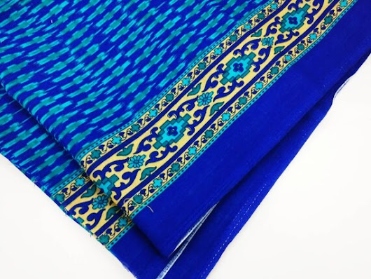 blue ikat cotton fabric with border, Indian fabric, lightweight cotton fabric