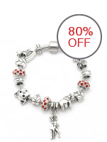 Arche Jewelry Pandora Inspired Red Swarovski Beads & Assorted Silver Tone Charms Women Bracelet