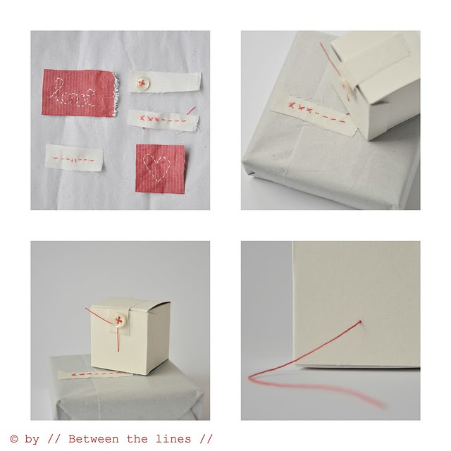embroidered tape gift wrapping