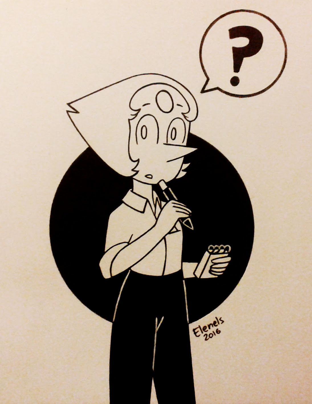 Inktober #7! Pearl (Steven Universe) Her waitress outfit is so cute ngh