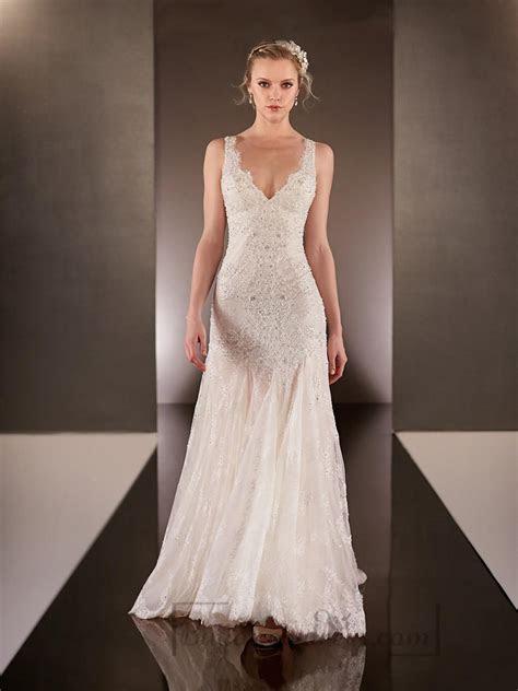 Elegant Beaded Straps Plunging V neck Lace Wedding Dresses