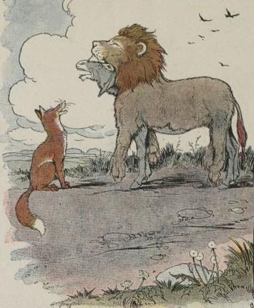 An illustration for the story The Ass In The Lions Skin by the author Aesop