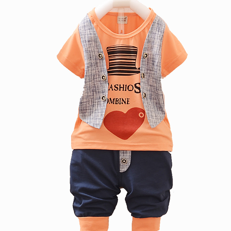 2015 New Children Clothing Sale Boys Clothes Kids Summer Set Baby Boy Clothing Plaid Vest Tie