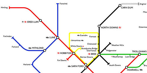 Detail from Middle Earth Tube map by Reagan Lee - click to see full version