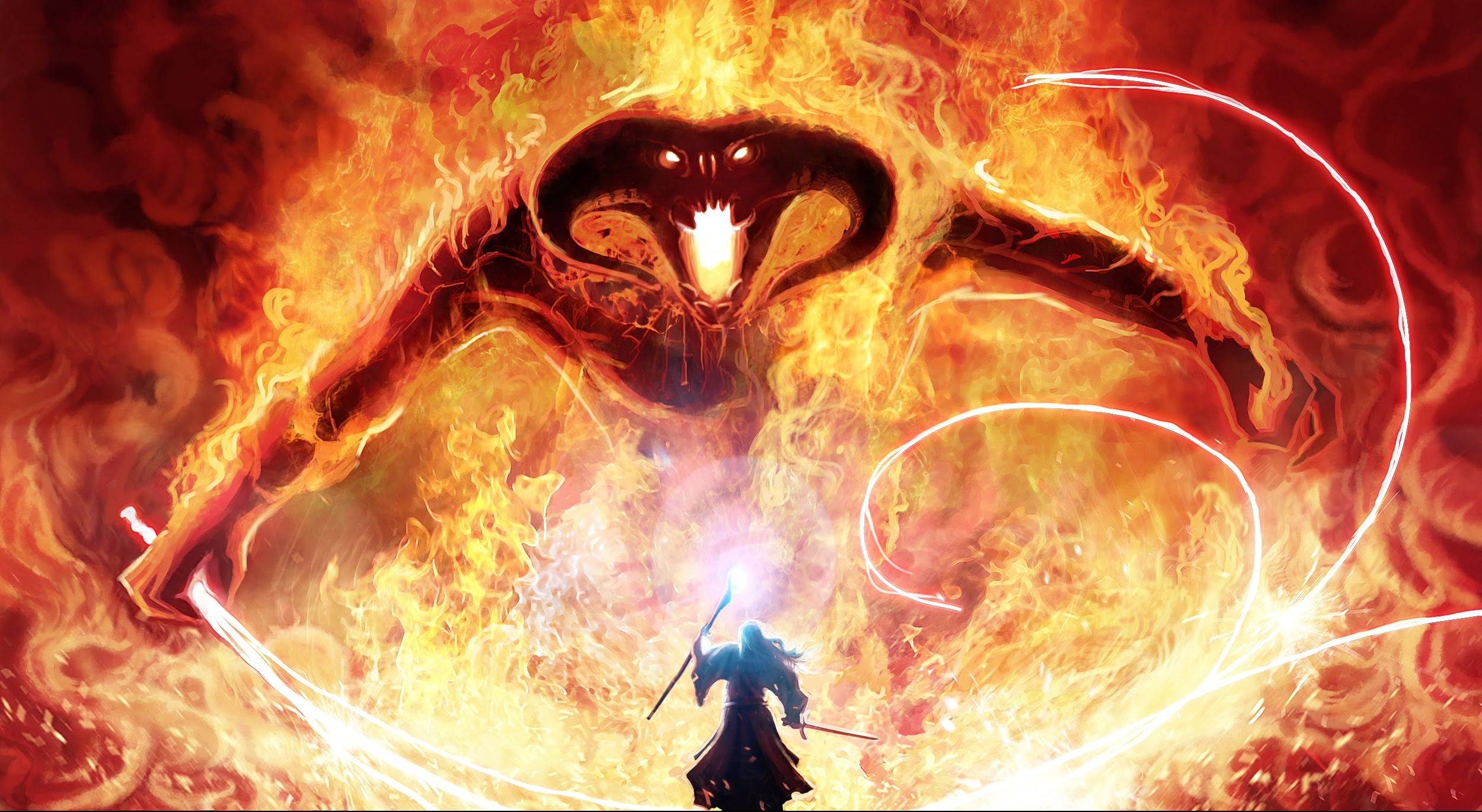Wallpaper Lord Of The Rings Balrog Gandalf Fire Tolkien Magic