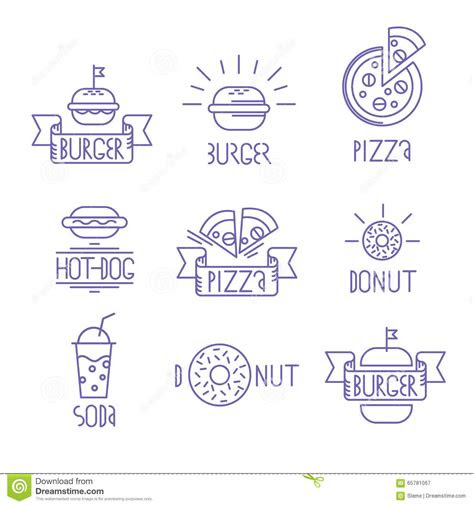 vector fast food design elements linear style outline