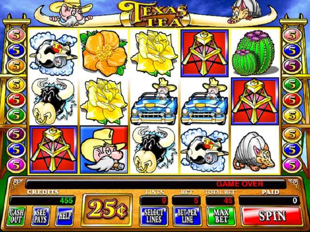 The theme of Texas Tea slots is based on fantasy and the game takes players through life in Texas' oil fields.With five reels and nine paylines onscreen, the coin denominations that you can wager on the game range from five cents to $5.US dollars, pounds or euros can be used to place real money bets..The highest jackpot that you can claim playing Texas Tea is credits while the 4/5(2,8K).