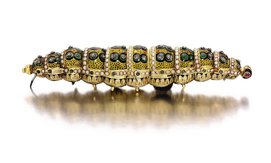 Incredible 200-year-old jewelled automated caterpillar that uses clockwork to crawl expected to fetch up to £200K at auction