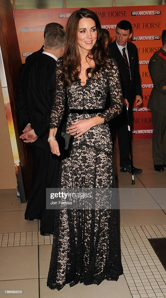 The Duchess of Cambridge attends the 'War Horse' UK film premiere at the Odeon Leicester Square on January 8, 2012 in London, England.