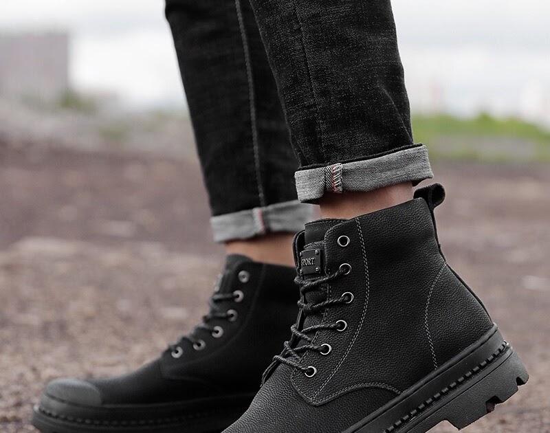 d8885bf37 Comprar Tamanho Grande 12 Botas Masculinas De Couro Genuíno Neve Inverno  Para Os Homens Pele Quente Moda Ankle Boots Militares Ao Ar Livre Casuais  Sapatos ...