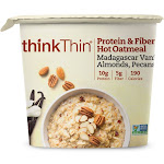 Thinkthin Protein & Fiber Hot Oatmeal, Madagascar Vanilla Almonds Pecans, 6 Cups