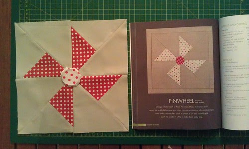Pinwheel block: books and blocks bee