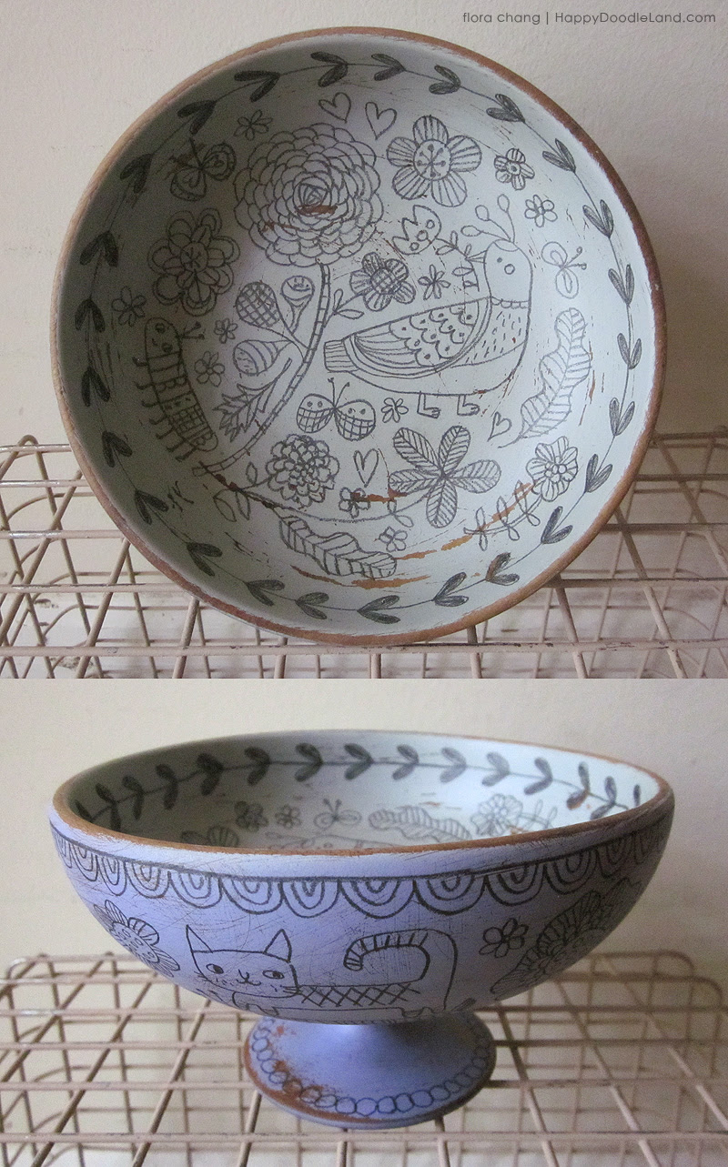 Birds and Flowers Footed Bowl
