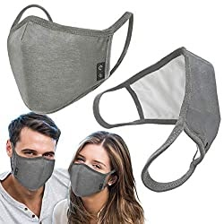 2-Pack Unisex Cloth Washable Reusable Cover-100% Cotton 3Layer men women outdoor