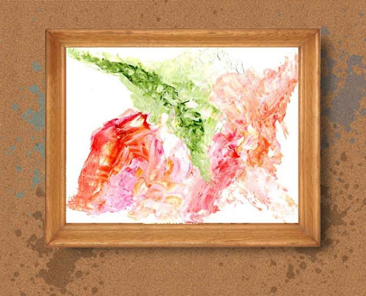 Red green abstract Impasto Painting Textured Artwork