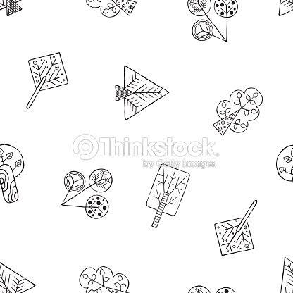 Vector Mano Dibujada De Patrones Sin Fisuras Decorativos Estilizados