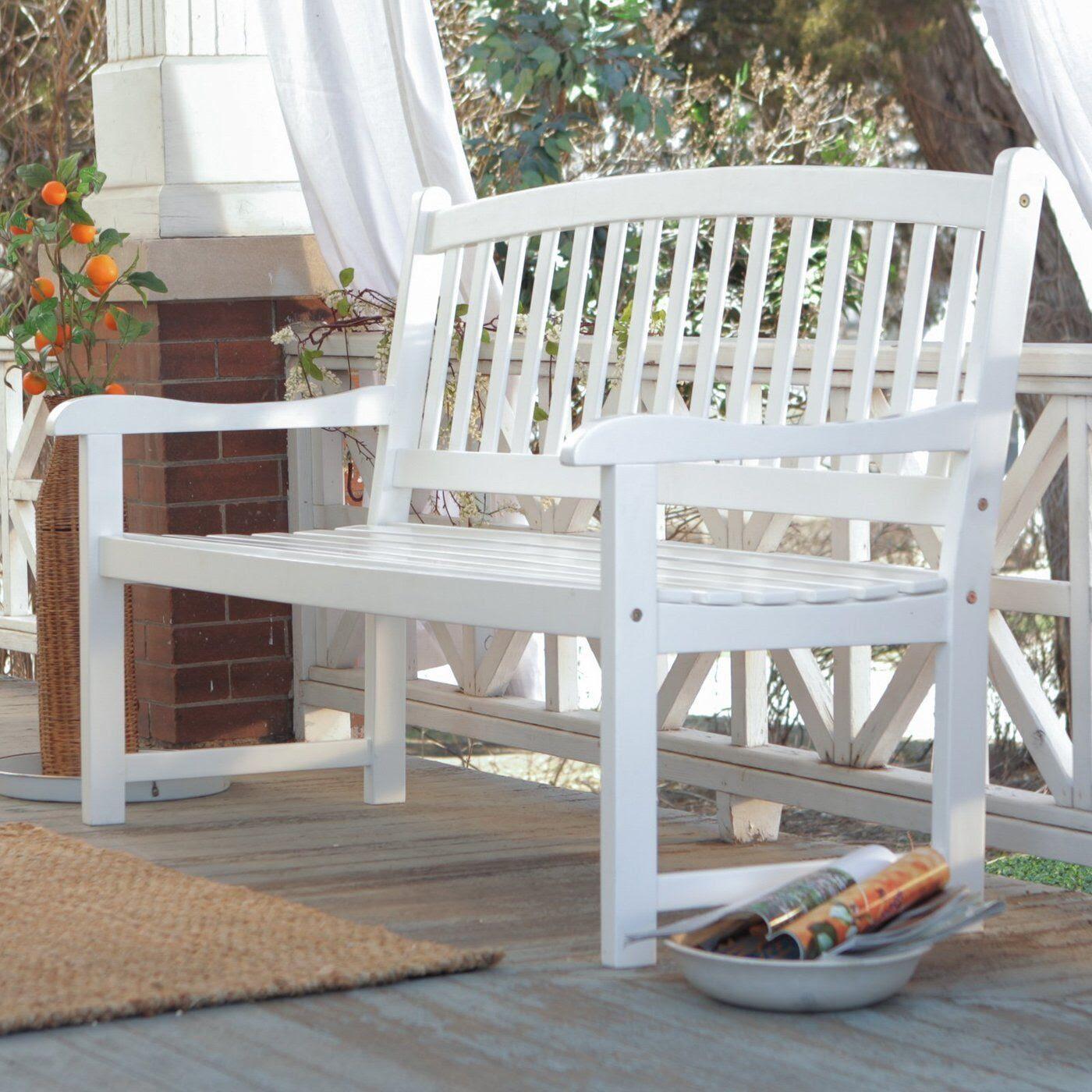 White Patio Bench Wood Outdoor Yard Deck Park Porch Garden ...