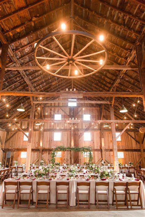 Rustic wedding reception decor idea   barn venue with high