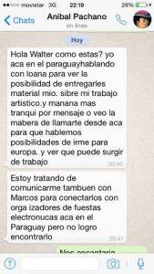 Mensaje de Watshapp de Pachano a Soto.