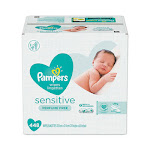 Sensitive Baby Wipes, White, Cotton, Unscented, 64/Pouch, 7 Pouches/Carton