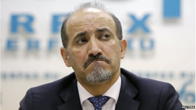 Ahmad Jarba reacts during a news conference in Moscow in February 2014