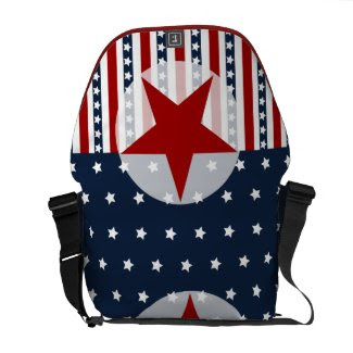 Patriotic Stars and Stripes American Flag Design Courier Bags