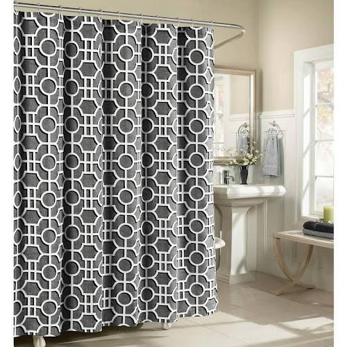 Creative Home Ideas Lenox 100 Cotton Luxury Fabric Shower Curtain Charcoal