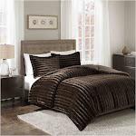 Madison Park Duke Chocolate King/Cal King Faux Fur Comforter Mini Set
