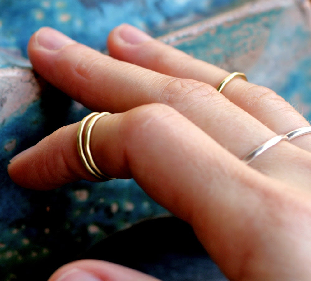 set of 3 first knuckle rings gold modern adjustable brushed brass set skinny thin faceted hammered simple above knuckle GOLD MEMORY RINGS