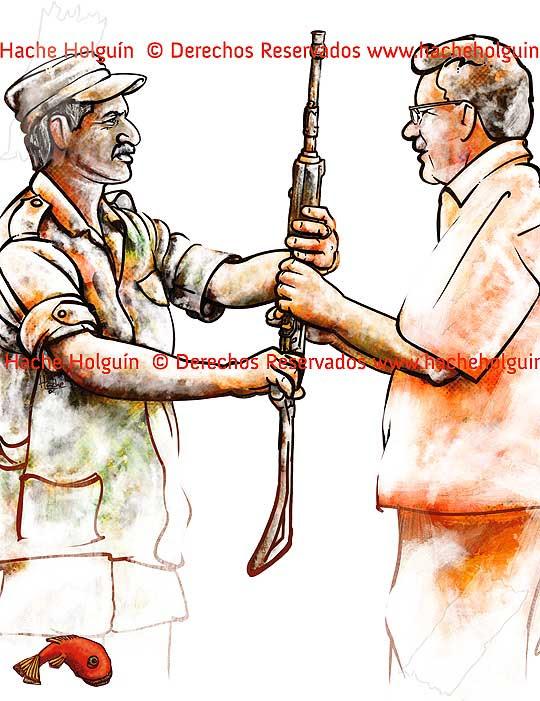 Ilustración sobre desmovilizados por Hache Holguín