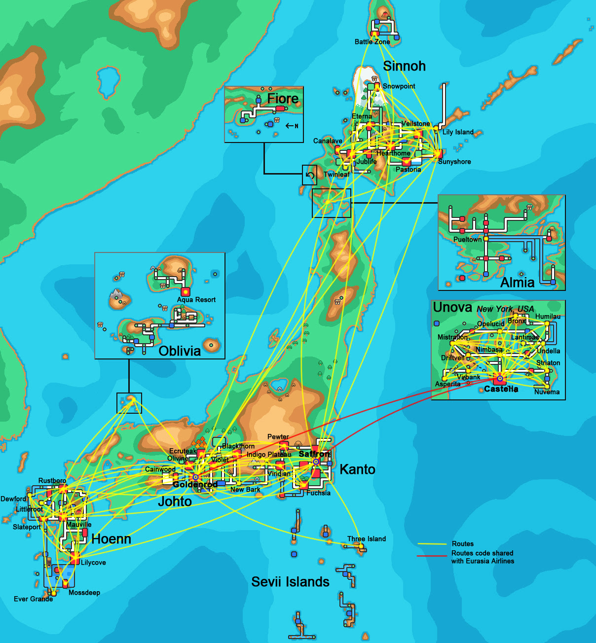 Pin all pokemon regions world map on pinterest pokemon map of all regions including unova pokemon airlines route map gumiabroncs Image collections
