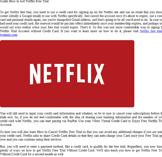 Guide How to Get Netflix Free Trial