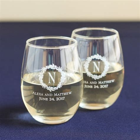 Personalized 9 oz. Stemless Wine Glass   Wedding Favors