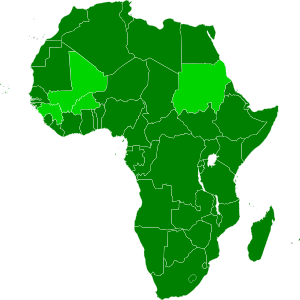 Map of African, with African Union member stat...