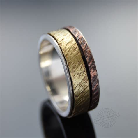 Silver Copper and Brass spinners ring,Rustic Men wedding