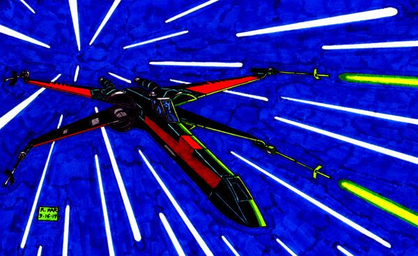 My own drawing of a black X-Wing from STAR WARS: EPISODE VII.