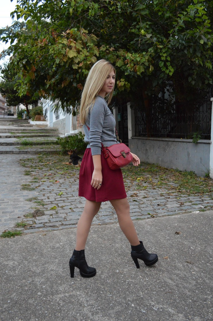 burgundy dress grey sweater6