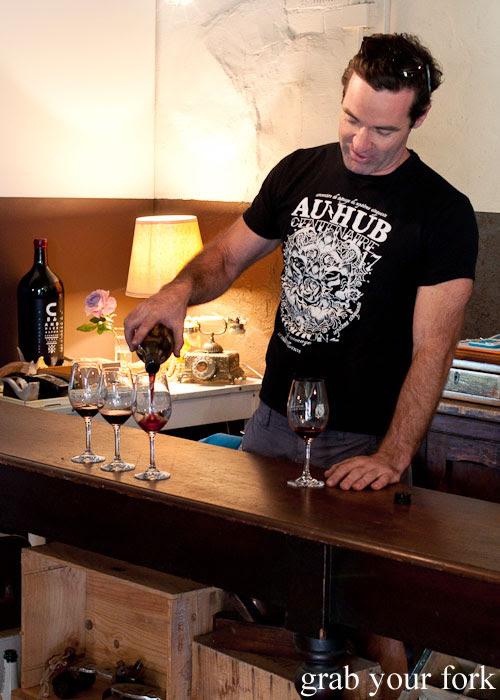 Justin Lane winemaker tasting Alpha Box & Dice, McLaren Vale, South Australia