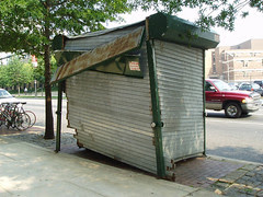 damaged newsstand, from side