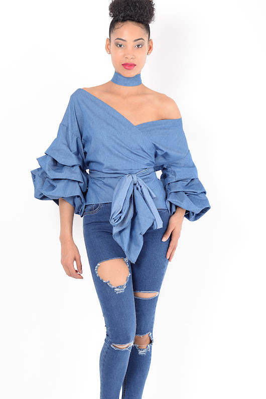 Stylish Denim Ruffle Sleeve Wrap Top - Shop H&S Womens Ruffle Tops