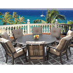 Outdoor Patio 9pc Firepit Dining Set for 8 Person with 71 inch Round Table