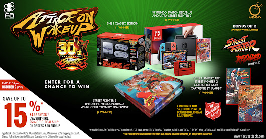 Win a Nintendo Switch, SNES Classic, Collectible iam8bit SF2 SNES Cart, and SF2 Definitive Soundtrack Vinyl!