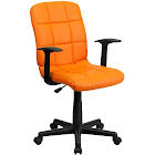 Flash Furniture Mid-Back Quilted Vinyl Swivel Task Chair with Arms - Orange