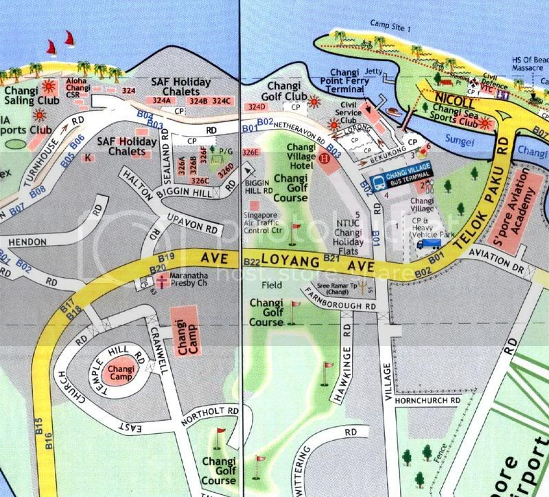 Map of Changi Village vicinity 2007