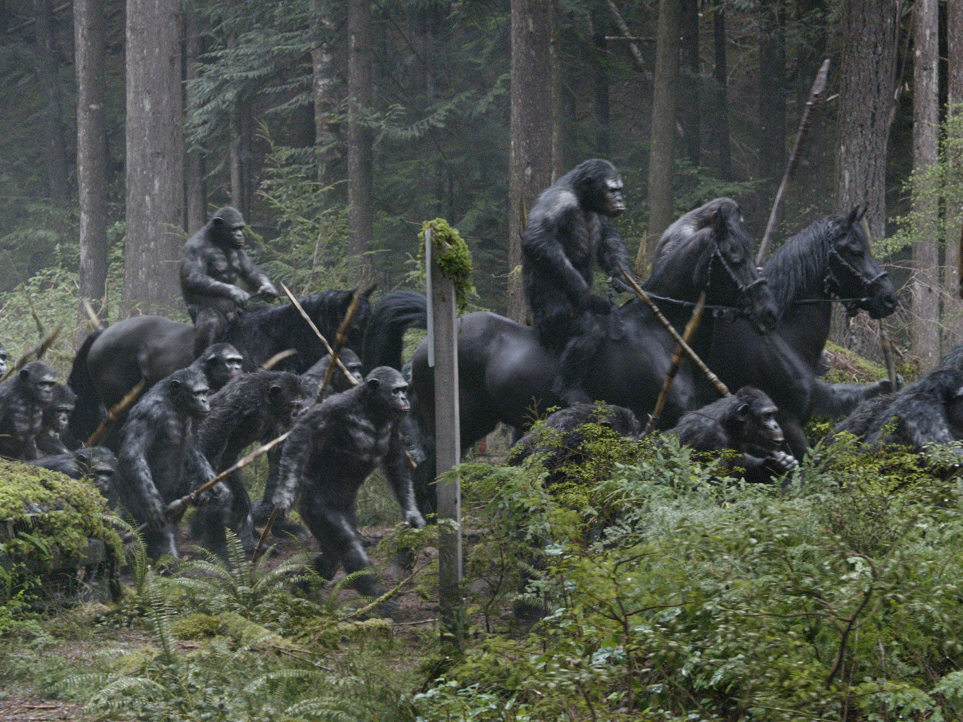 Dawn Of The Planet Of The Apes Images Reveal An Army Of Apes On