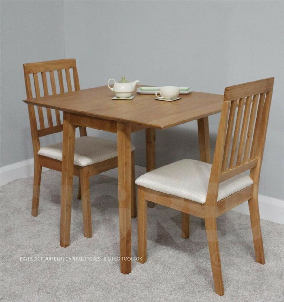 Solid Wood Extending Dining Table   2 Chairs  Oak Finish  eBay