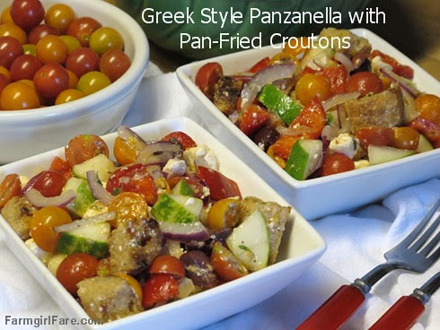 Greek Style Panzanella Salad with cherry tomatoes, kalamata olives, feta cheese, and homemade pan-fried croutons - FarmgirlFare.com (2)