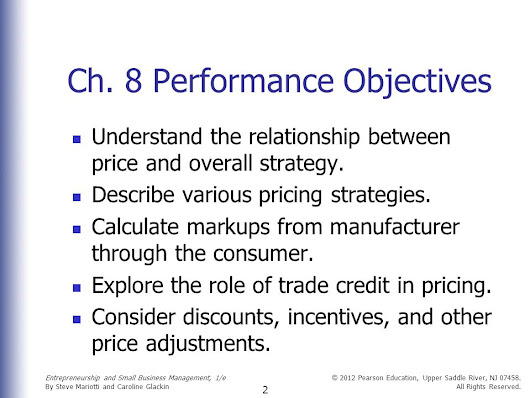 Entrepreneurship and Small Business Management Chapter 8 Pricing and Credit Strategies