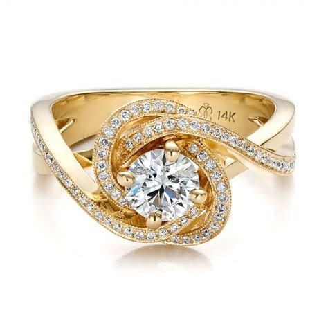 Custom Yellow Gold and Diamond Engagement Ring   Rings