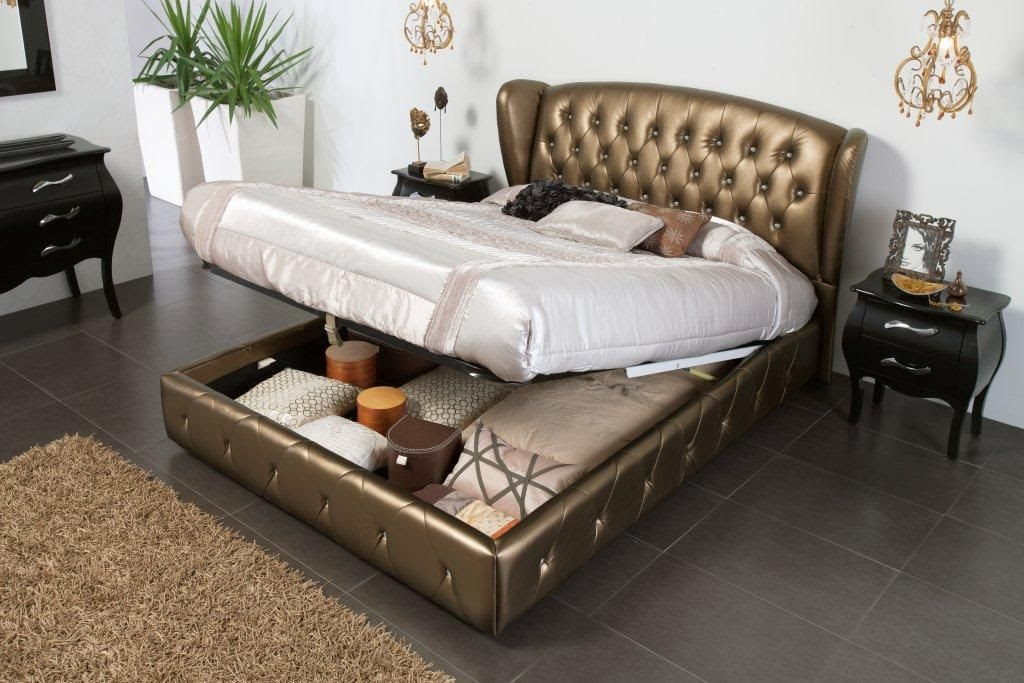 Made in Spain Leather Modern Platform Bed with Extra Storage Chicago Illinois ESF662